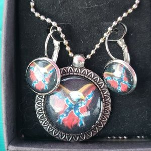 Confederate flag necklace and clip on earrings